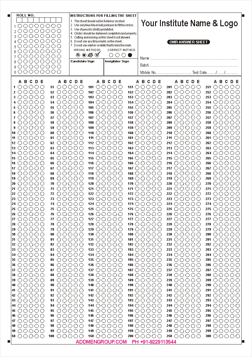 omr sheet download