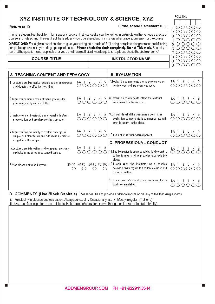feedback forms template – Workshop Evaluation Forms Sample